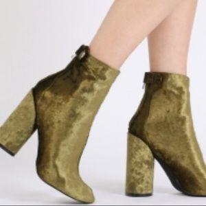 green velvet boots